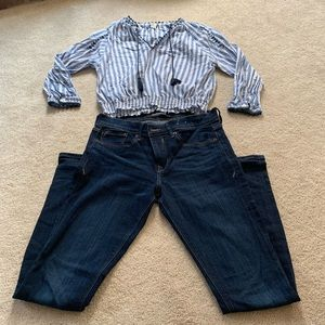 Express mid rise jeans and F21 shirt outfit